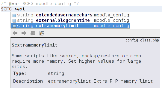 $CFG autocompletion in PHP Storm